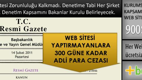 Yeni Türk Ticaret Kanunu ve Web Sitesi zorunlulugu